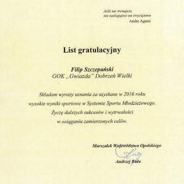 Filip  Szczepański wyróżniony