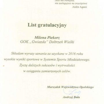 Milena Piekorz wyróżniona