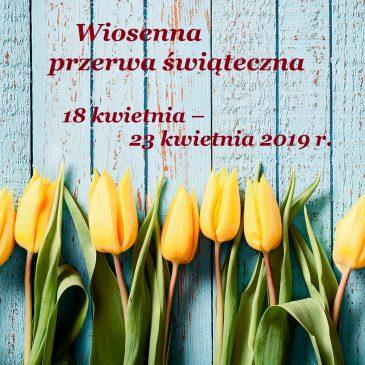 Zgodnie z kalendarzem roku szkolnego 2018/2019 w naszej szkole obowiązuje przerwa wiosenna.
